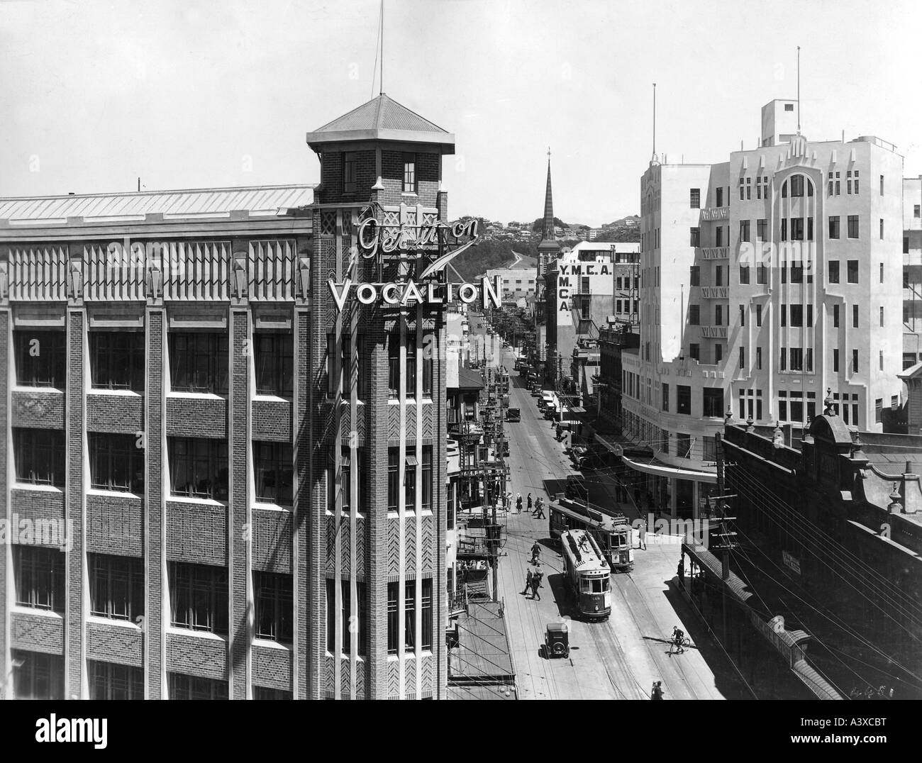 geography/travel, New Zealand, Wellington, Willis Street, 1920s, 20s, North Island, traffic, street car,  20th century, - Stock Image