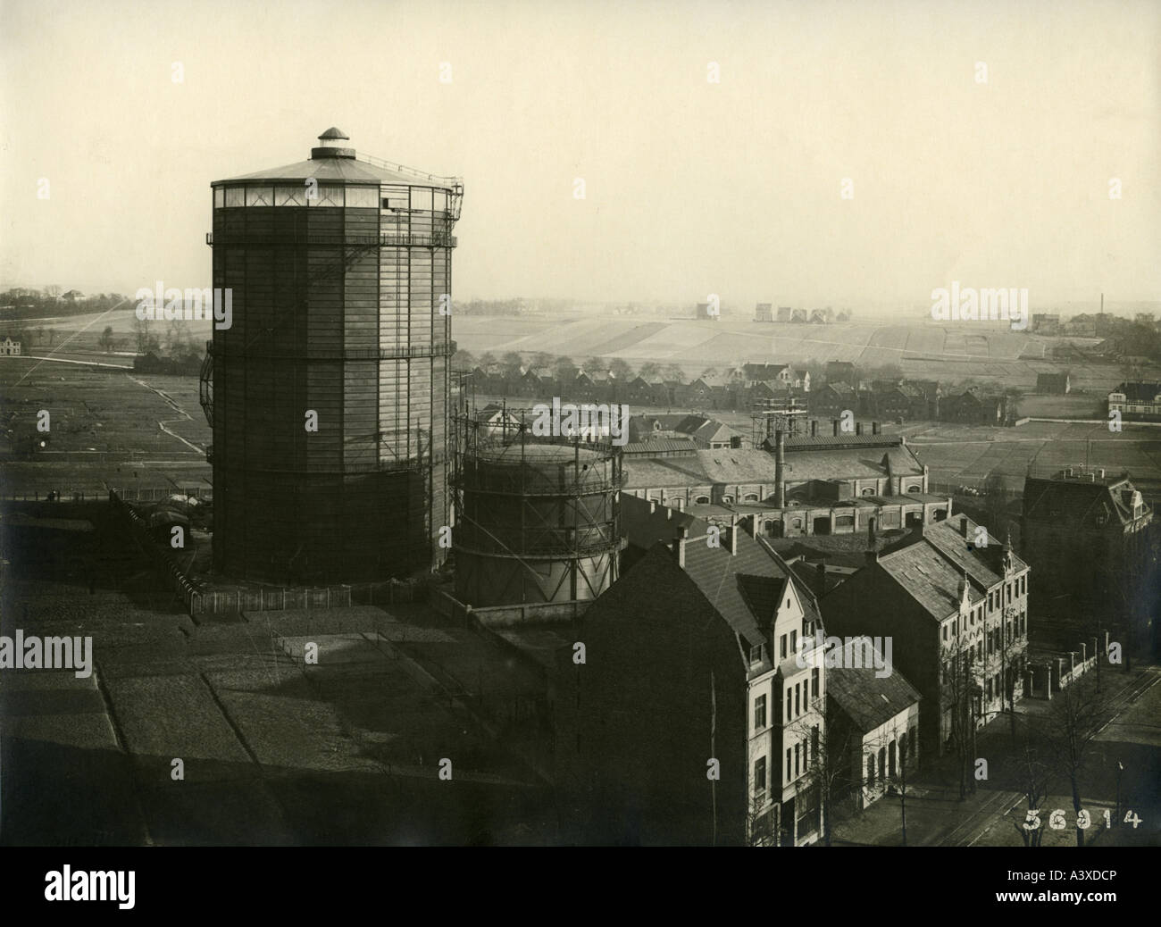 energy, gas, gasometer, built for municipal gas works Buer 1922, photography, March 1923, historic, historical, - Stock Image