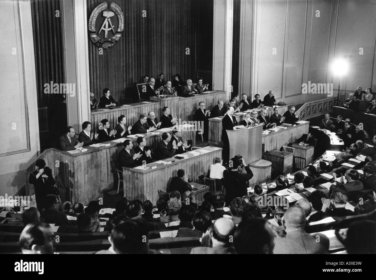 geography/travel, Germany, German Democratic Republic, politics, parliament, 15th session, speech of Walter Ulbricht, - Stock Image