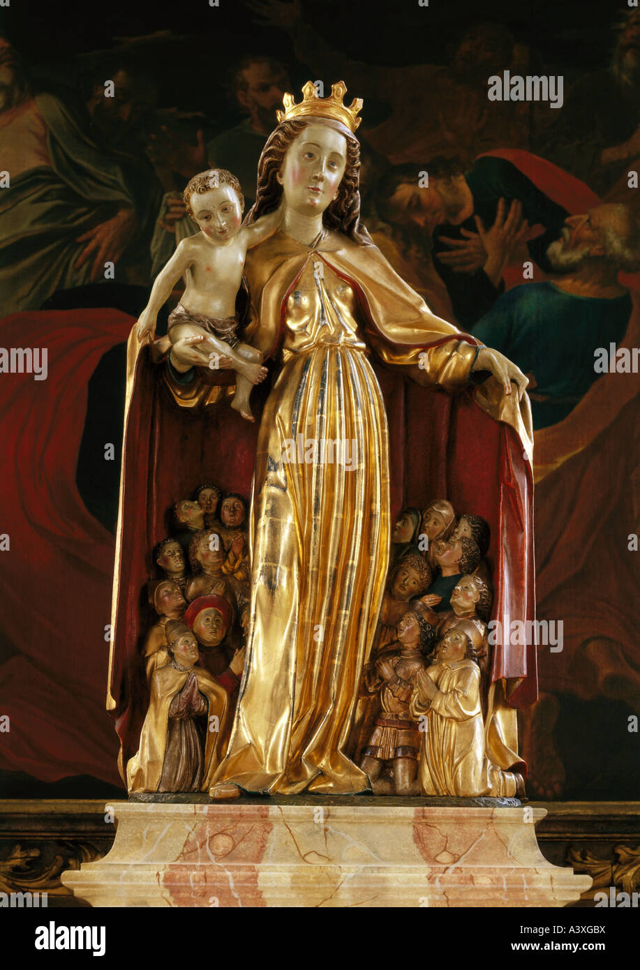 fine arts, Mary with protective covering and infant Jesus, 1474, sculpture, wood, Saint Nicholas parish church, - Stock Image