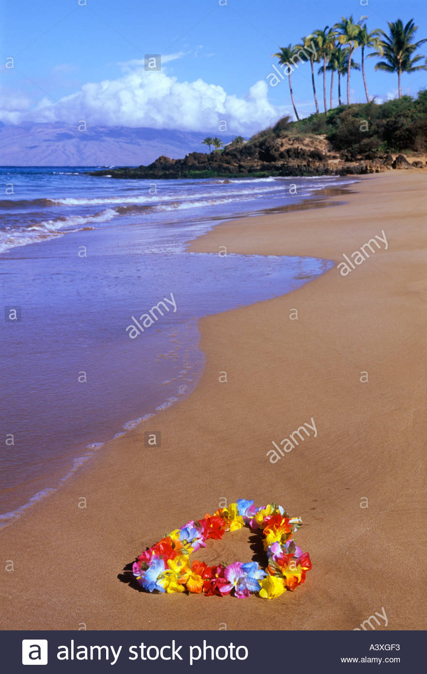Flower garland or lei on the beach at Wailea on the island of Maui in the state of Hawaii USA - Stock Image