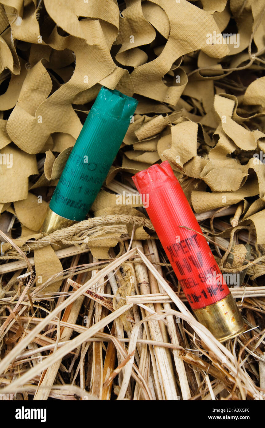 Expended Shotgun Shells Laying in Camouflage Netting and Dried Grass at Foot of Duck Goose Blind Hardy Lake Indiana - Stock Image