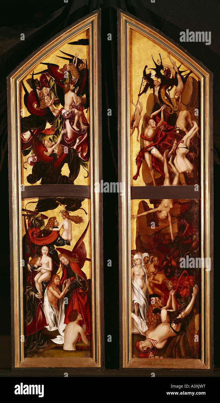 'fine arts, Fries, Ernst, (circa 1465 - after 1518), painting, 'Last Judgement - resurrection of the blessed - Stock Image