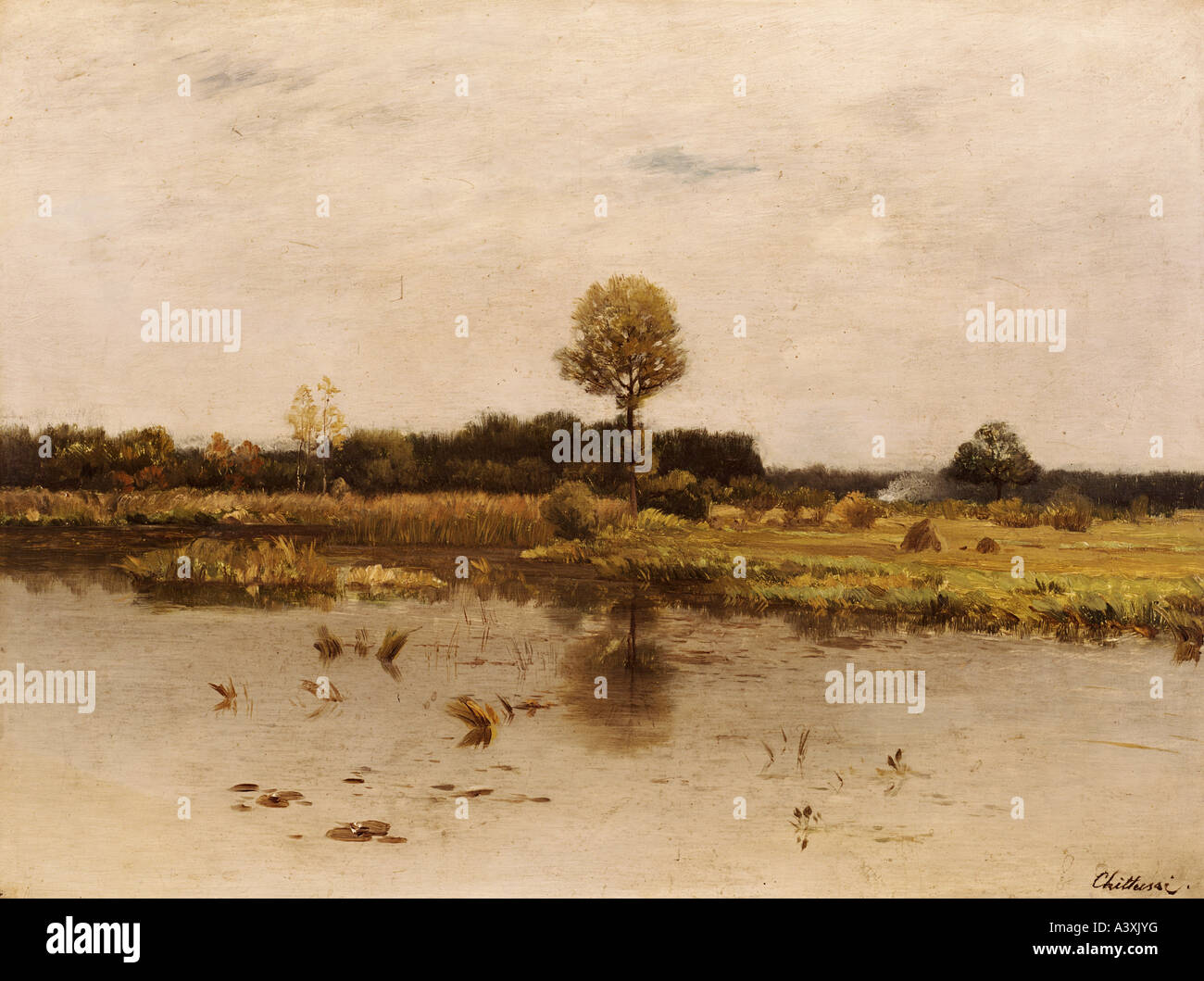 'fine arts, Chitussi, Antonin, (1847 - 1891), painting, 'Svatovitsky rybnik', ('holy pond of Saint - Stock Image