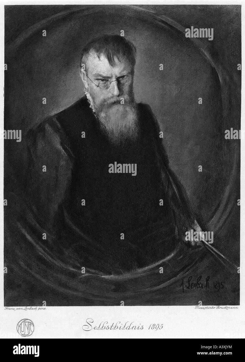Lenbach, Franz von, 13.12.1836 - 6.5.1904, German painter, selfportait, mezzotint engraving by Bruckmann after painting, - Stock Image