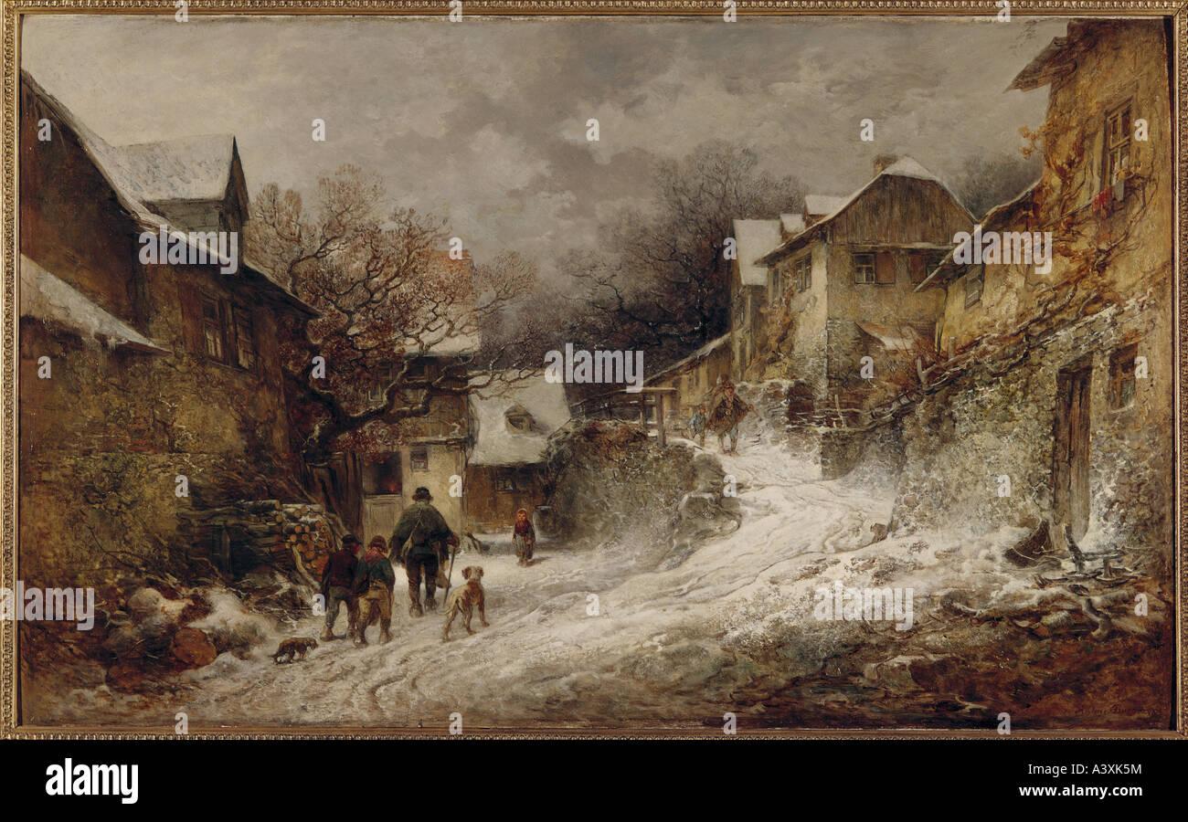 """""""fine arts, Burger, Anton, (1824 - 1905), painting, """"Winterliche Dorfstraße in Kronberg im Taunus"""", (""""wintry village street a Stock Photo"""