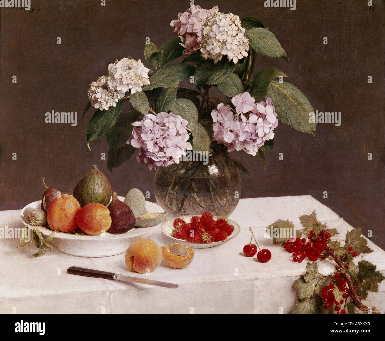 'fine arts, Fantin-Latour, Henri, (1836 - 1904), painting, 'still life', Gulbenkian Collection, Lisbon, - Stock Image