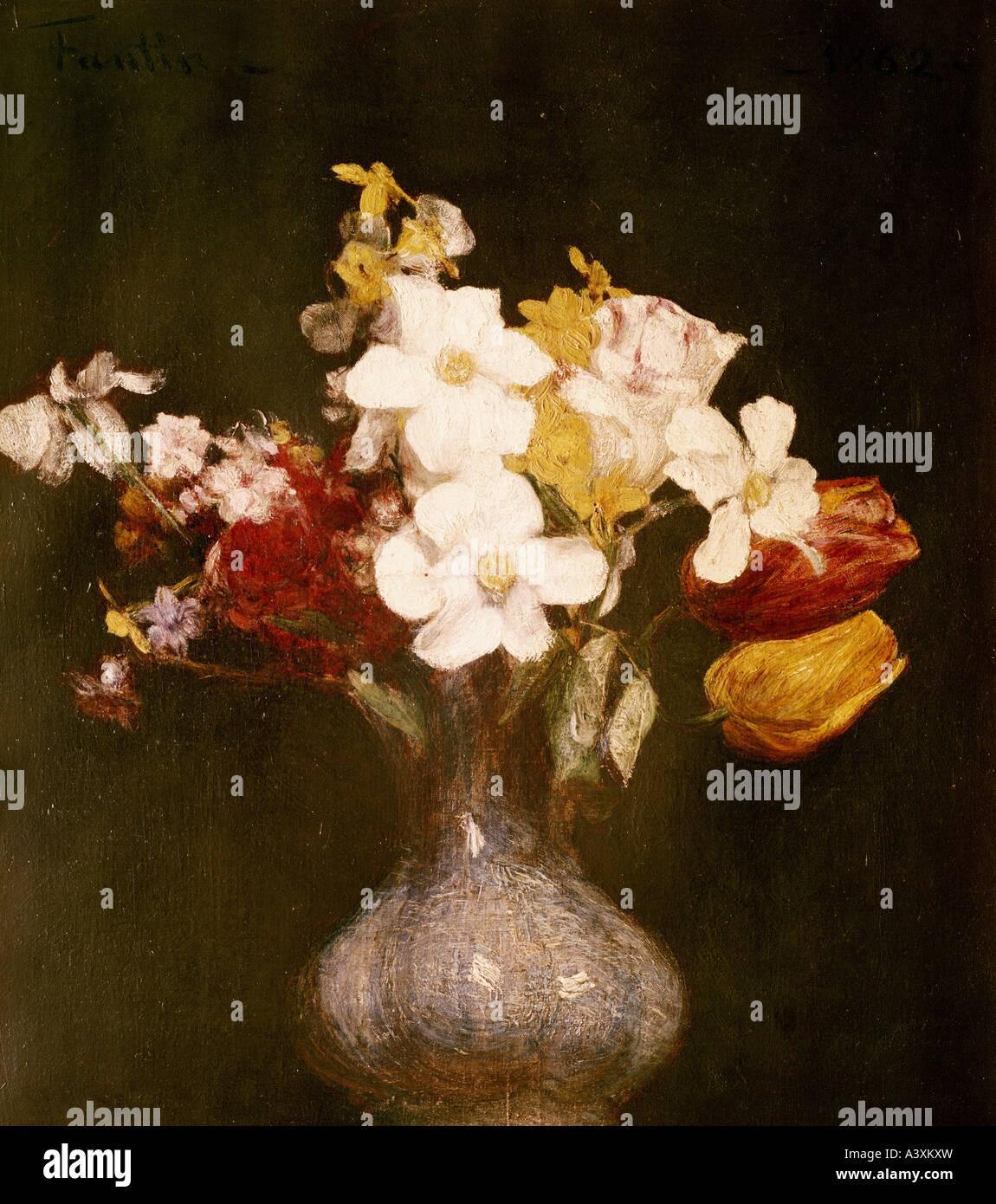 'fine arts, Fantin-Latour, Henri, (1836 - 1904), painting, 'daffodils and tulips', Louvre, Paris, historic, - Stock Image