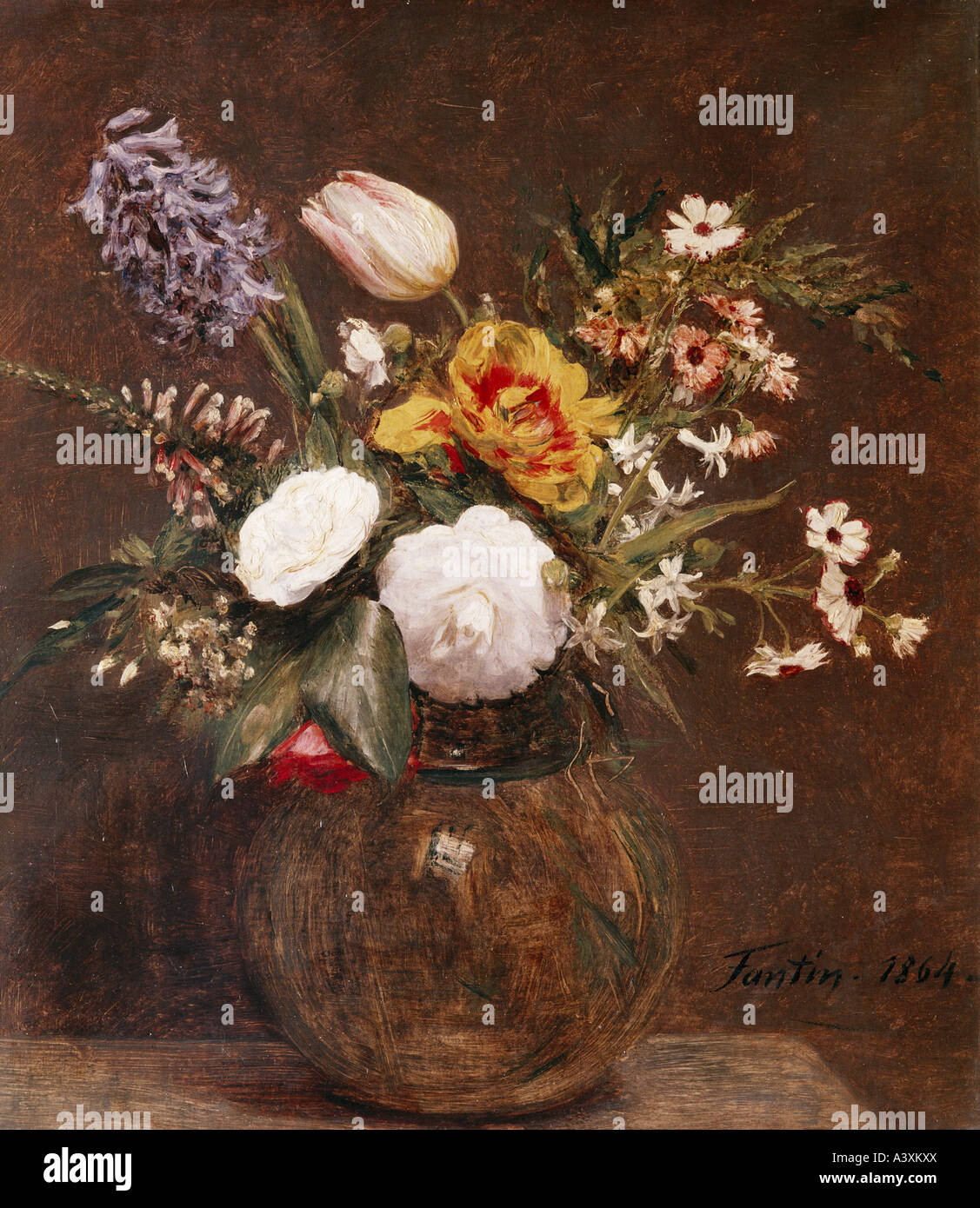 'fine arts, Fantin-Latour, Henri, (1836 - 1904), painting, 'flower still life', 1864, Victoria and Albert - Stock Image
