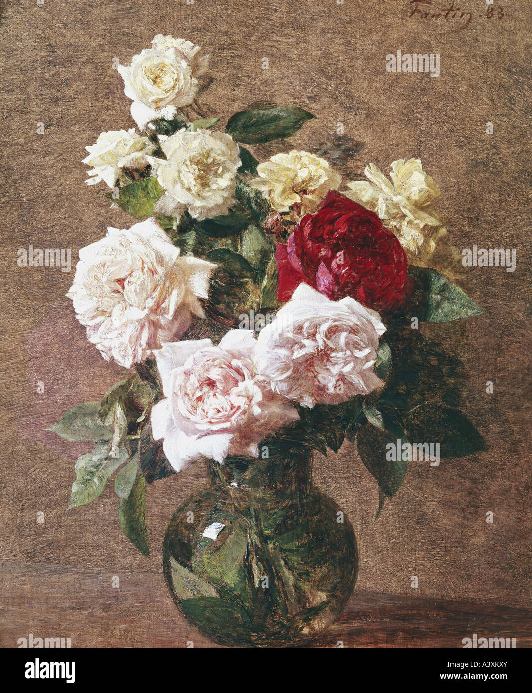 'fine arts, Fantin-Latour, Henri, (1836 - 1904), painting, 'flowers in vase', 1883, Gulbenkian Collection, - Stock Image