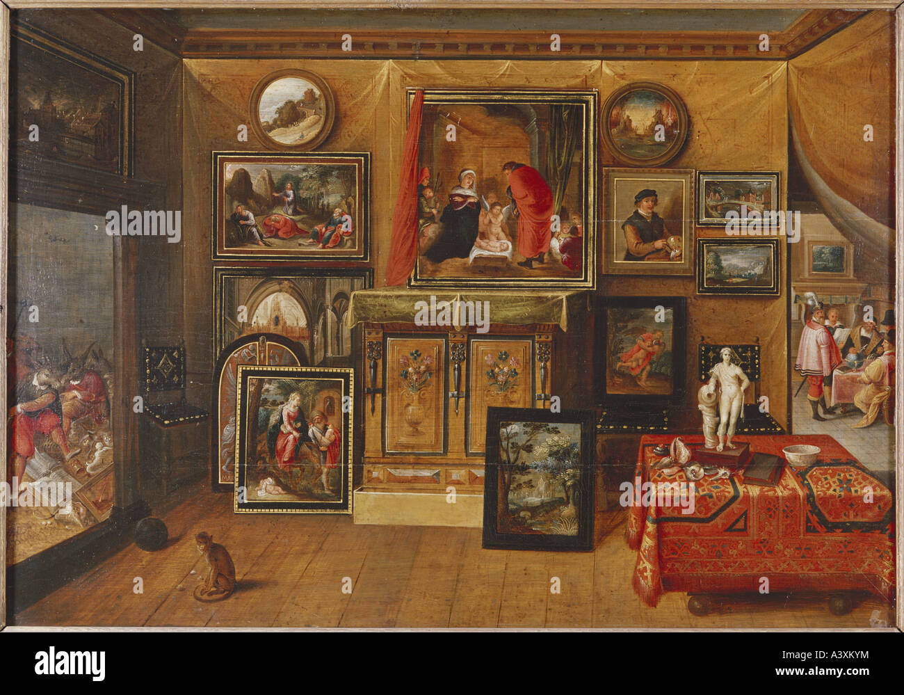 """fine arts, Francken, Frans II, (1581 - 1642), painting, ""interior"", Museum of Arts and History, Geneva, historic, Stock Photo"