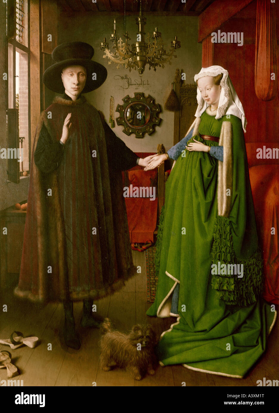 'fine arts, Eyck, Jan van, (circa 1390 - 1441), painting, 'the Arnolfini wedding', 1434, oil on panel, - Stock Image
