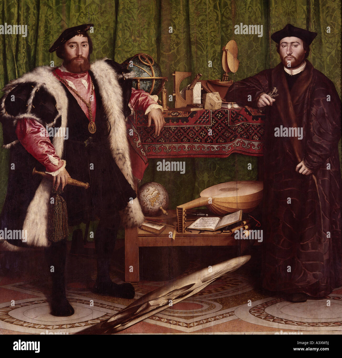 """""""fine arts, Holbein, Hans the Younger, (circa 1497 - 1543), painting, """"the ambassadors"""", 1533, oil on panel, 207 Stock Photo"""