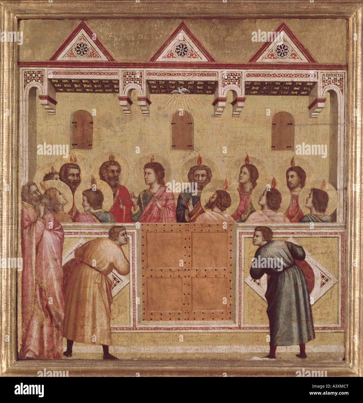 """fine arts, Giotto di Bondone, (1267 - 1337), attributed, painting,  ""pentecost"", tempera on chestnut panel, 45,7 cm x 43,8 cm,"