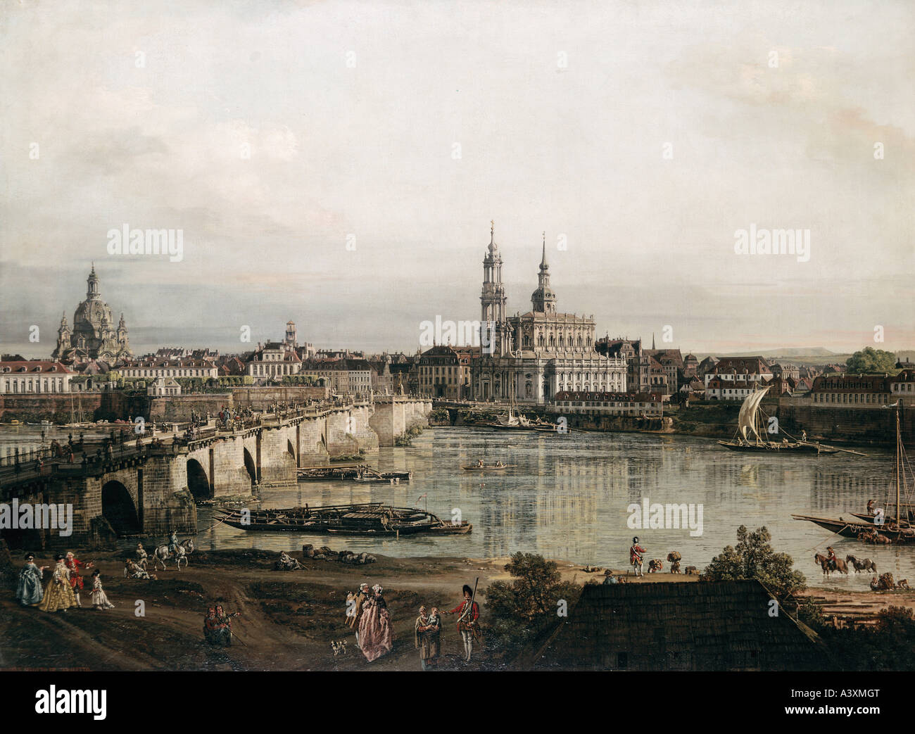 """fine arts, Bellotto, Bernardo, called Canaletto, (1722 - 1780), painting, ""view on Dresden from Neustadt bridgehead"", Stock Photo"