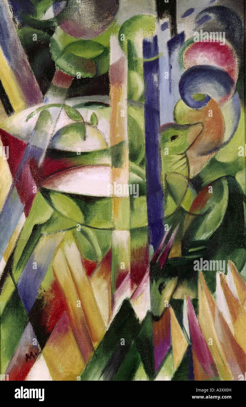 """fine arts, Marc, Franz, (1880 - 1916), painting, ""Die kleinen Bergziegen"", (""the little mountain goats""), 1914, Stock Photo"