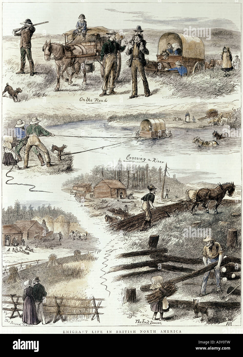 geography / travel, Canada, people, emigrants, 'emigrant life in British North America', colour engraving, - Stock Image