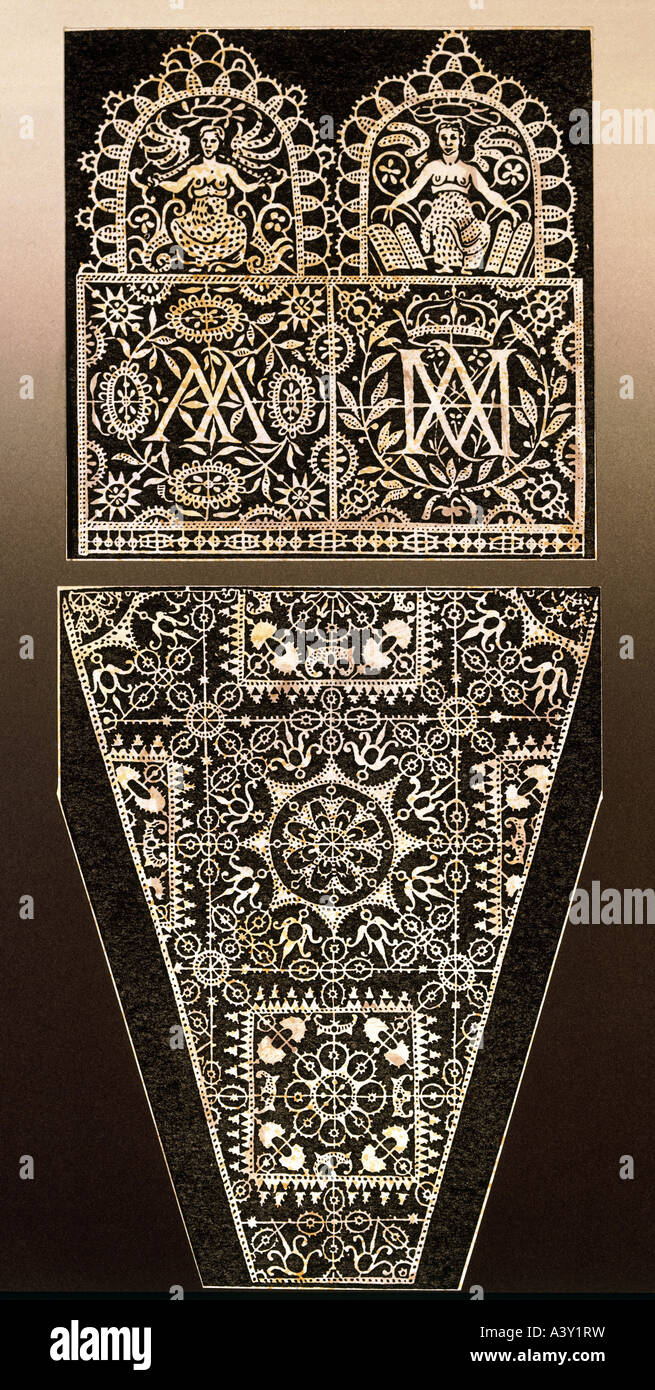 textile / fabric, lace, template with initials AA and AM, by Frederic de Vinciolo, Paris, France, 1606, Additional - Stock Image