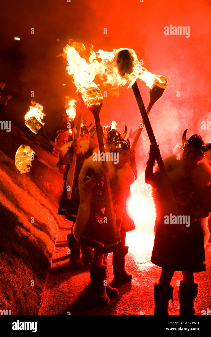 dh Up Helly Aa LERWICK SHETLAND Parading torches Junior Guizer fire procession Viking galley burning kids Stock Photo