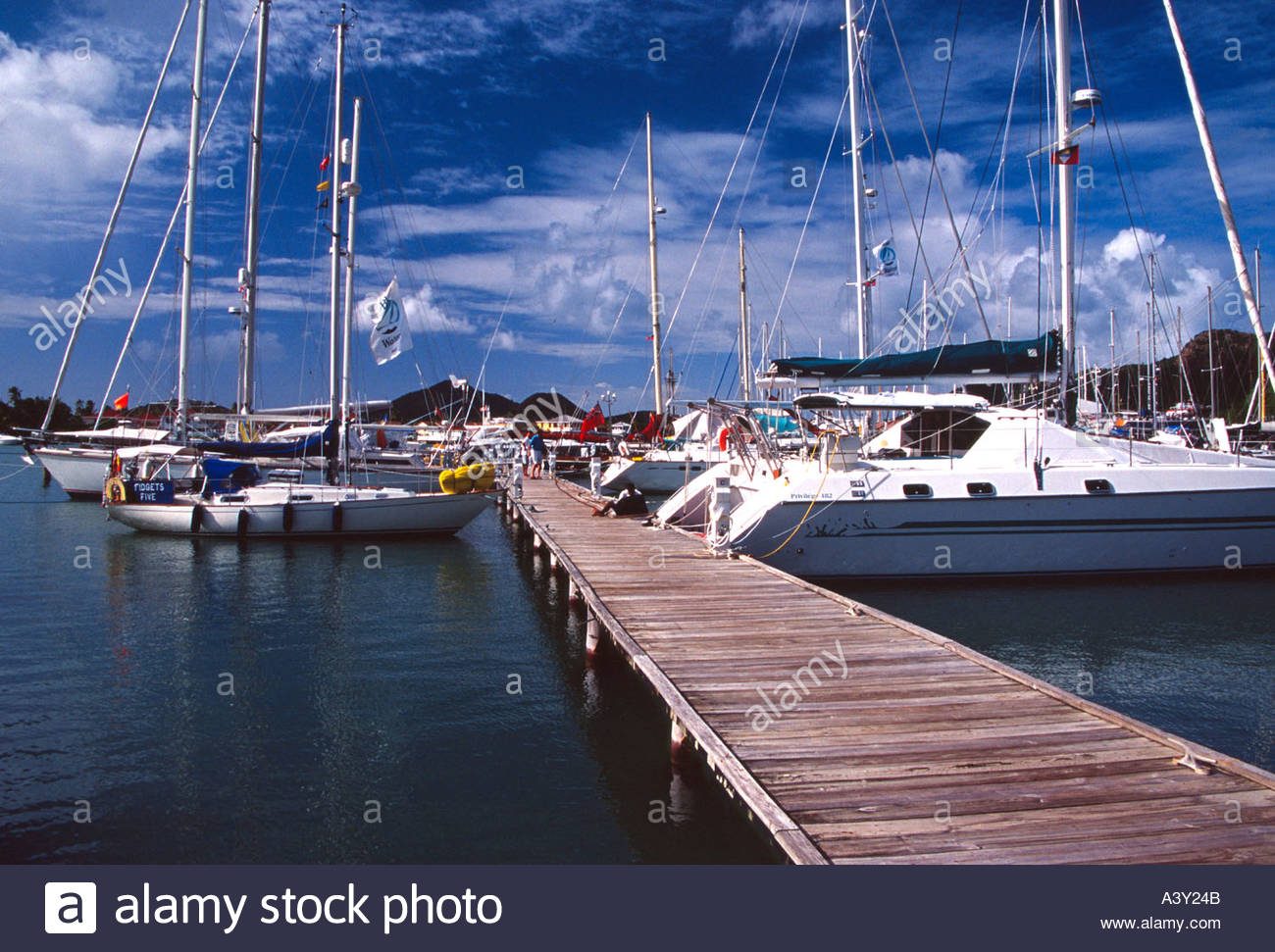 Jolly Harbour Antigua West Indies - Stock Image