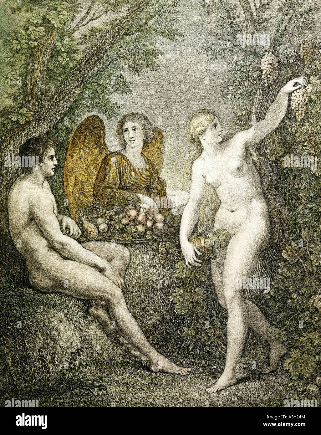 """fine arts, religious art, ""Adam and Eve entertaining archangel Gabriel"", engraving with aquatint, by Francesco Stock Photo"