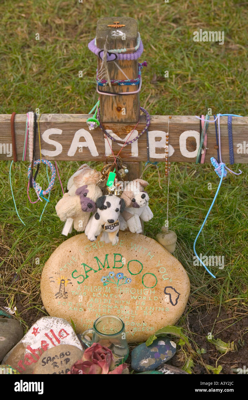 Sambos grave, a negro slave who died and was buried in unconsecrated ground at sunderland point, Lancashire, UK - Stock Image