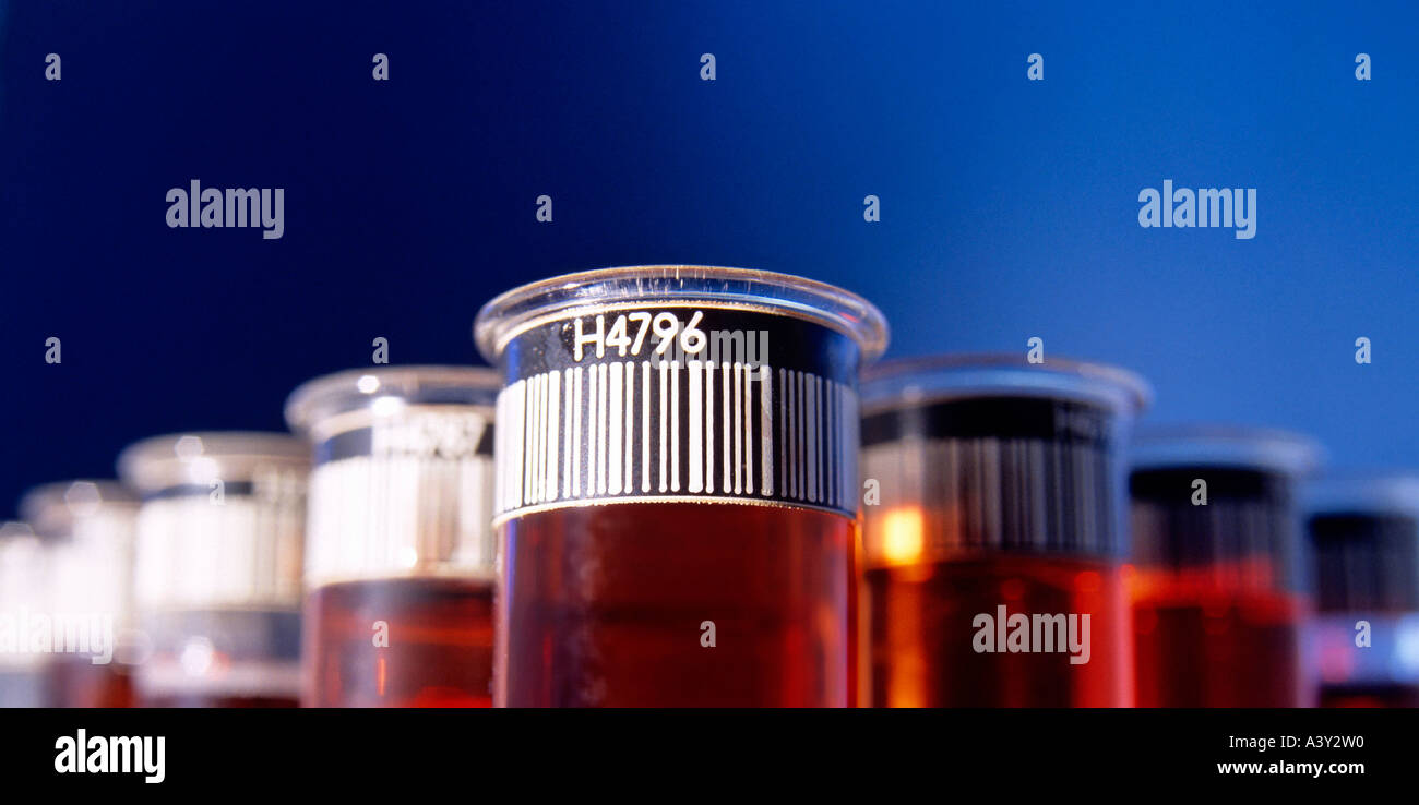 barcode tags on testtubes - Stock Image