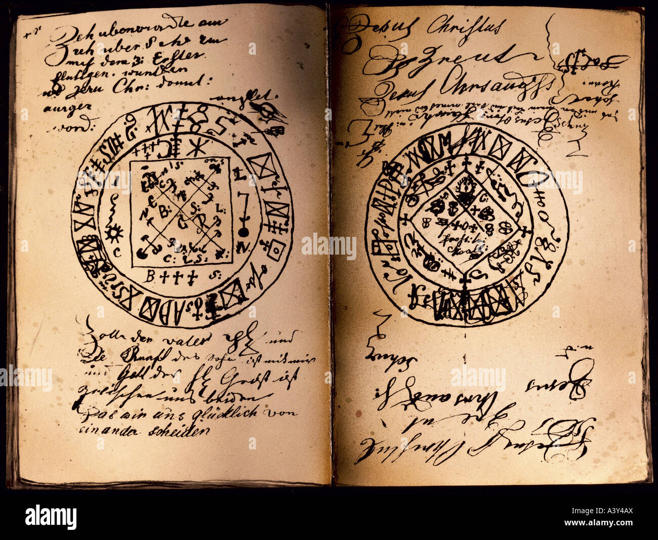 Superstition, Seal, Double Page Handwritten Grimoire, Southern Stock Photo: 10880257