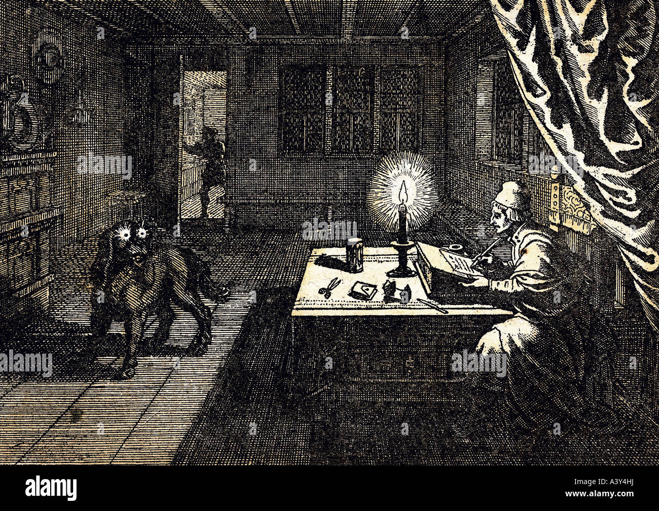 superstition, necromancy, necromancer invoking ghost in form of dog, engraving, by Matthäus Merian the Elder, (1593 Stock Photo