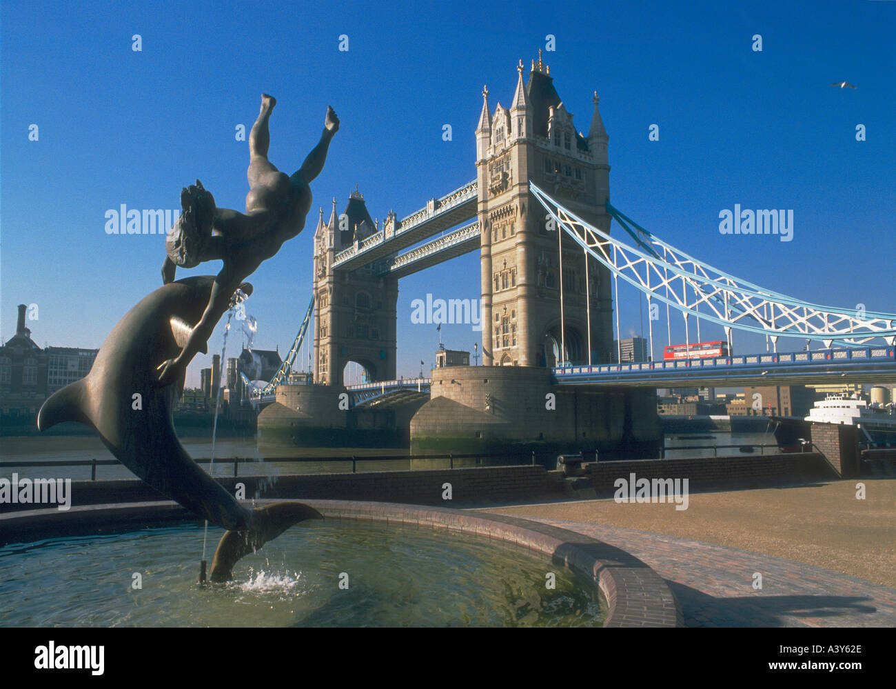 Tower Bridge and statue over the Thames in London Stock Photo