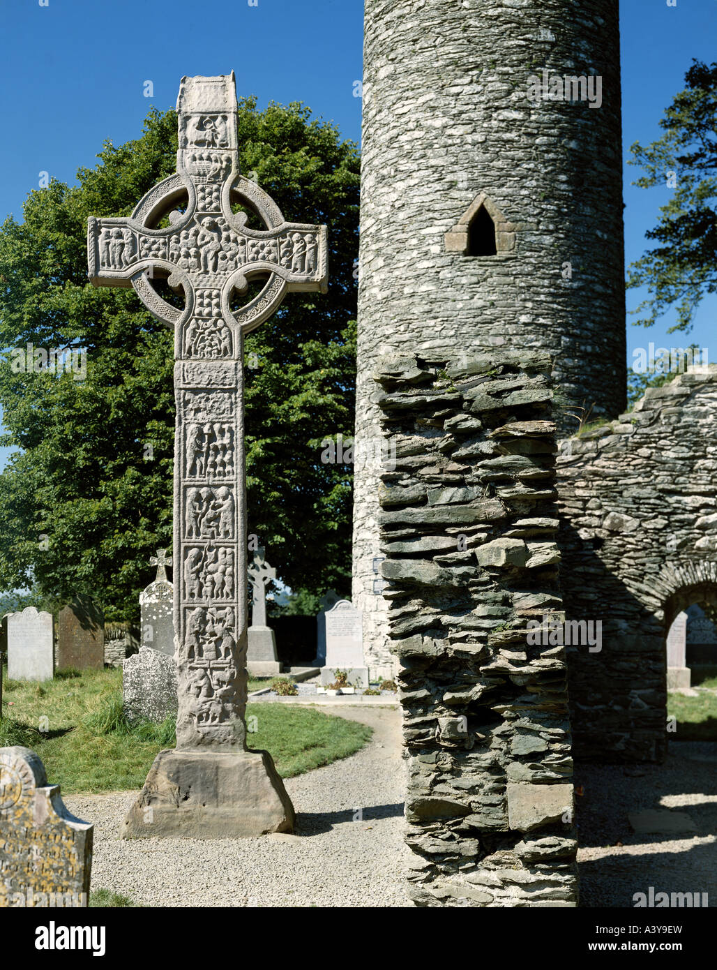 travel / geography, Ireland, Monasterboice, monuments, high cross, ('Tall Cross'), west side, early 10th - Stock Image