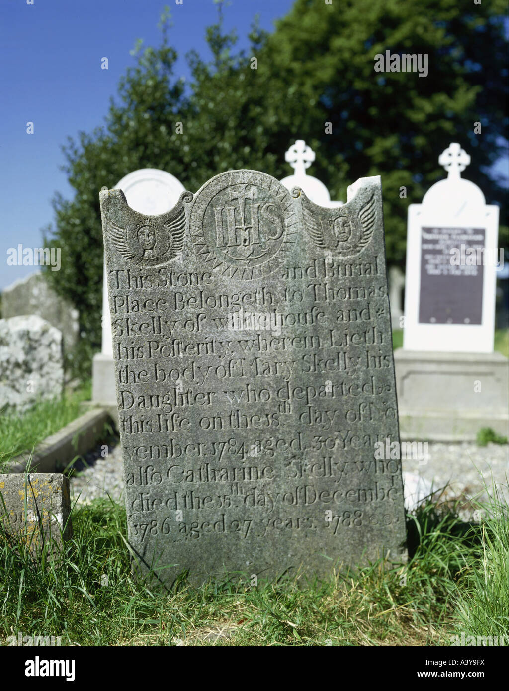 travel / geography, Ireland, Monasterboice, monuments, tombstone, inscription, 1788, Additional-Rights-Clearances - Stock Image