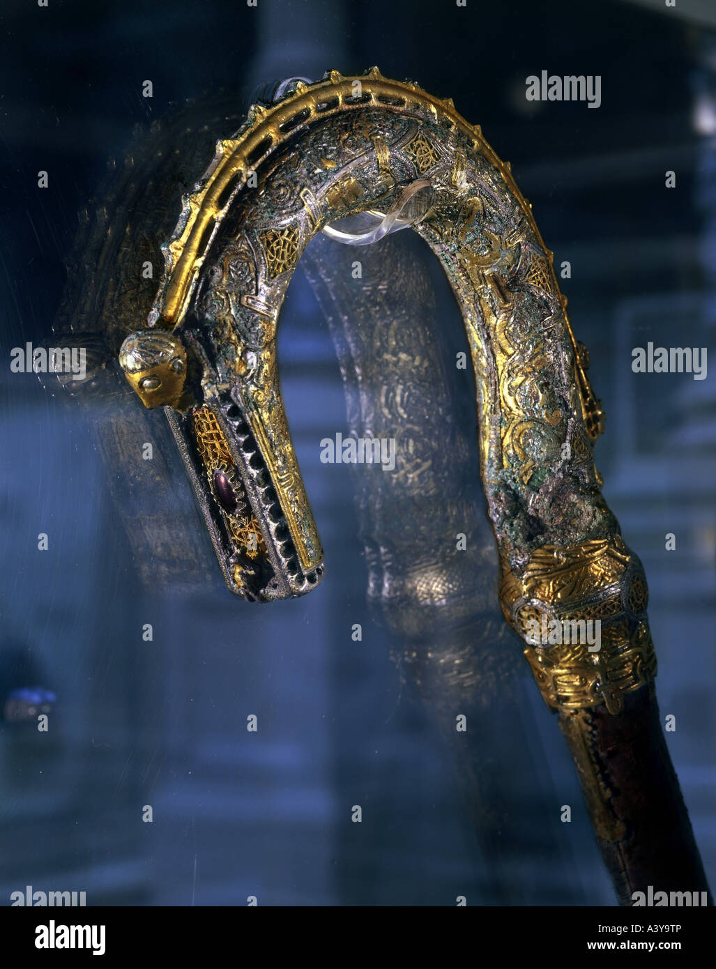 religion, christianity, liturgical objects, crosier of bishop staff with head of Christ, circa 1100, Additional - Stock Image