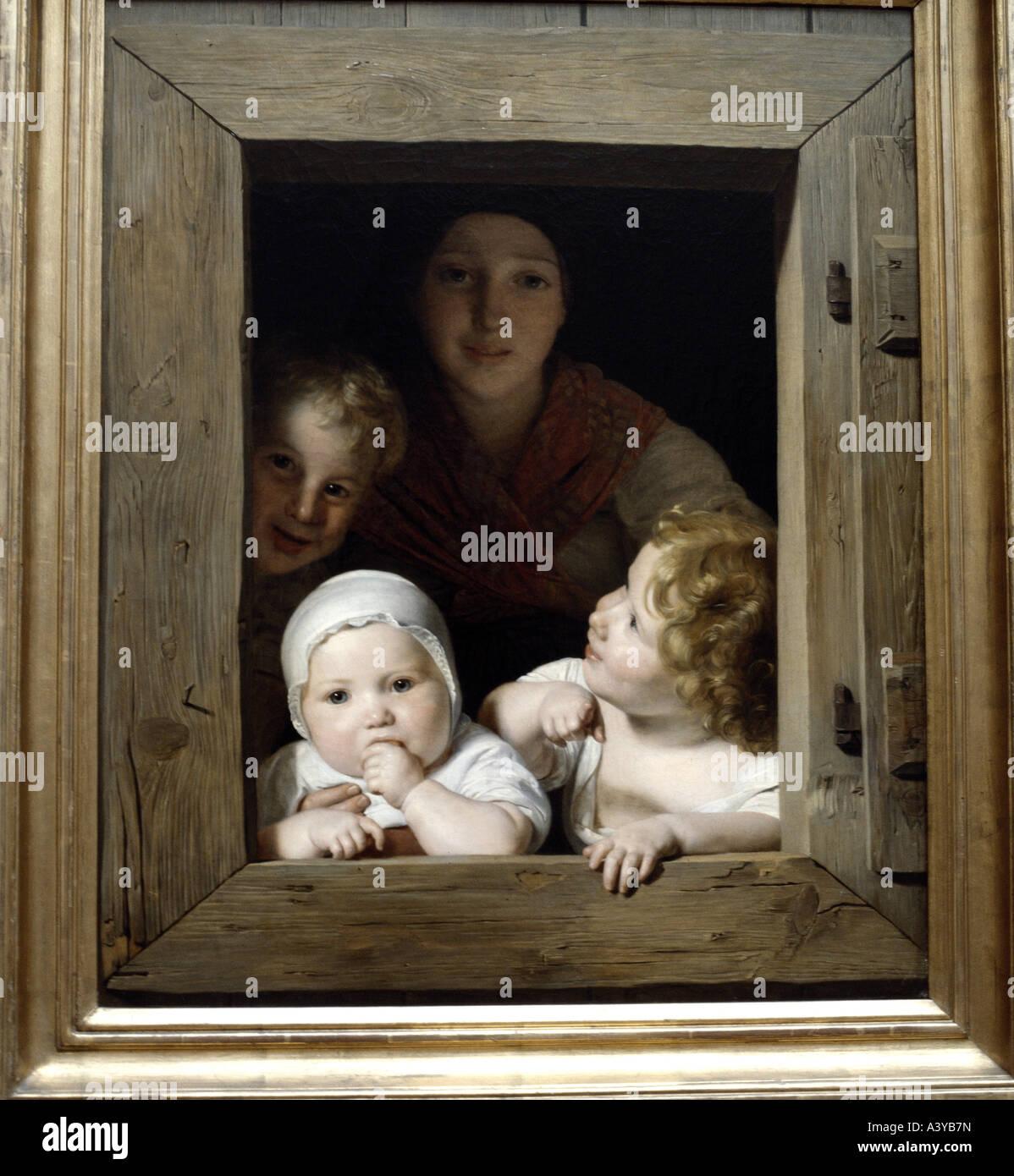 'fine arts, Waldmüller, Ferdinand Georg, (1793 - 1865), 'Junge Bäuerin mit drei Kindern im Fenster', - Stock Image
