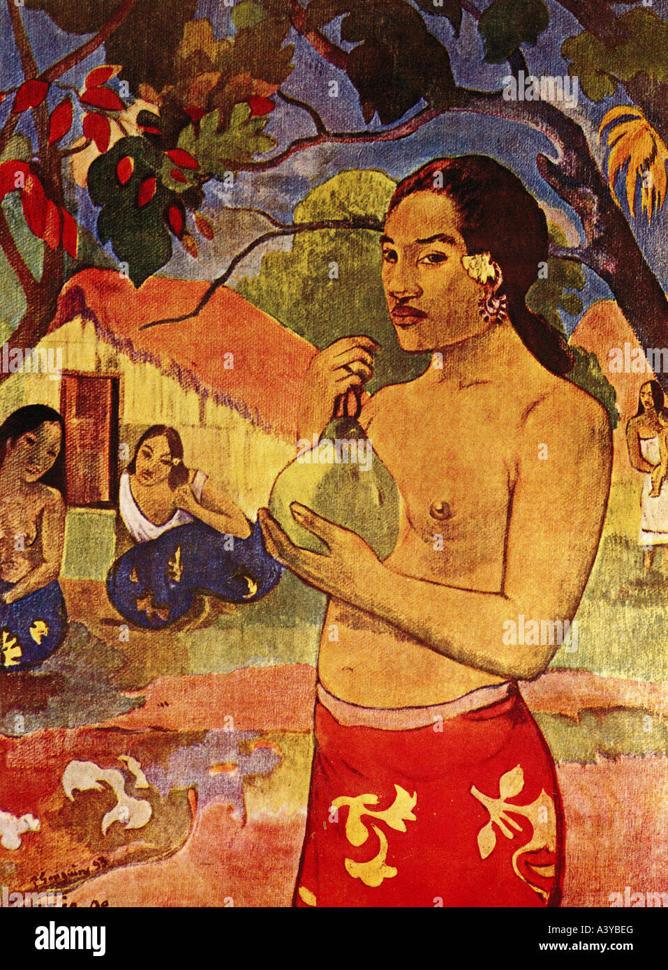 'fine arts, Gauguin, Paul, (1848 - 1903), painting, 'Tahiti woman with fruit', 1893, oil on canvas, - Stock Image