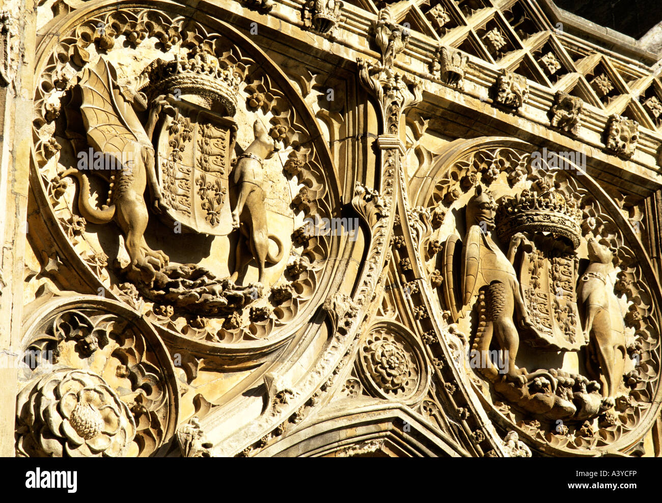 the Royal coat of arms of Henry VII on exterior of King's College Chapel, Cambridge - Stock Image