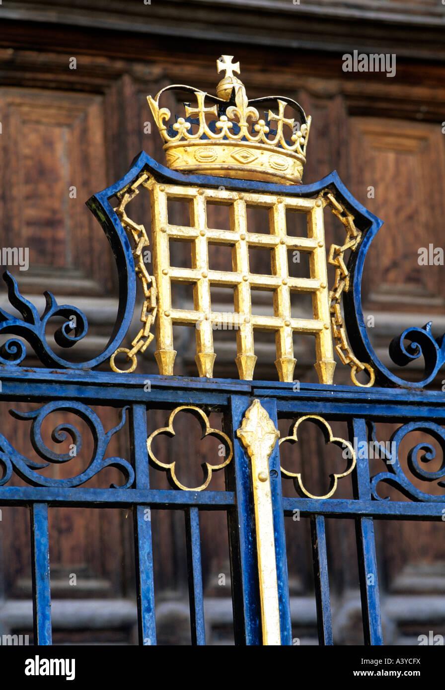 the portcullis on railings in King's College Cambridge ...