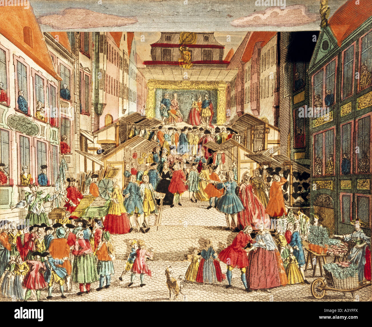 festivity, fairs, scenery in five settings, Augsburg, mid 18th century, private property, historical, historic, - Stock Image