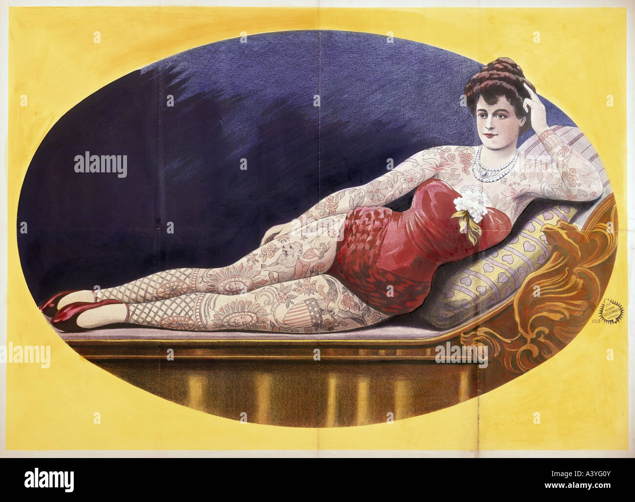 festivity, fairs, carny, completely tattooed woman, poster, colour lithograph, print by Adolph Friedländer, - Stock Image