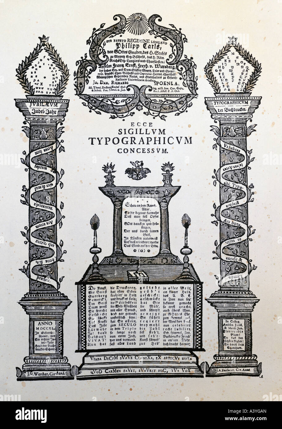 technics, printing, typography, congratulations to 400 years of printing, Erfurt, 1740, private collection, Additional - Stock Image