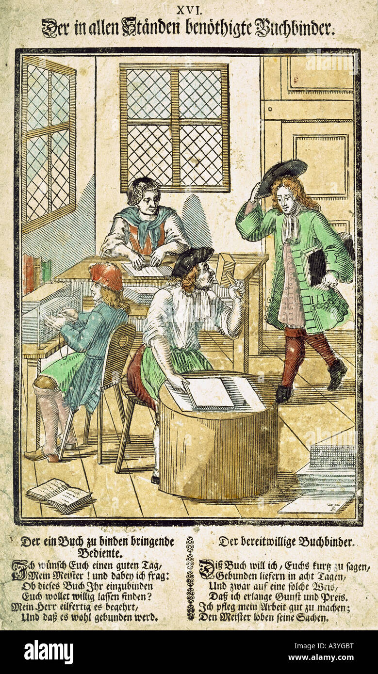technics, printing, bookbinder, colour woodcut, from 'Buch für die Jugend', Augsburg, second half 17th - Stock Image