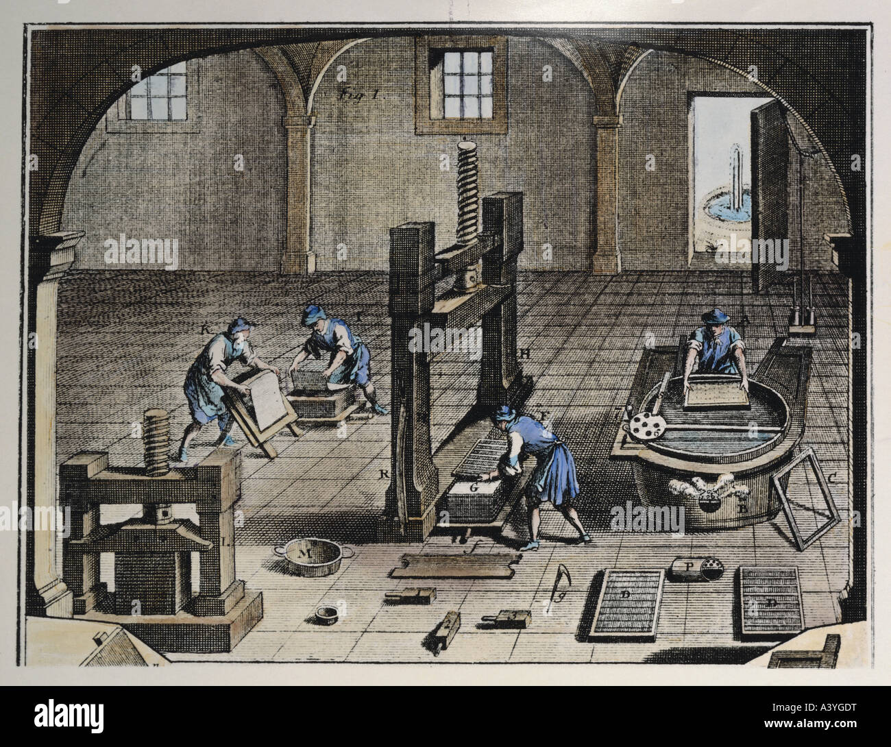 industry, paper manufacture, hand papermaking, couching and pressing of sheets, colour engraving, second half 18th - Stock Image