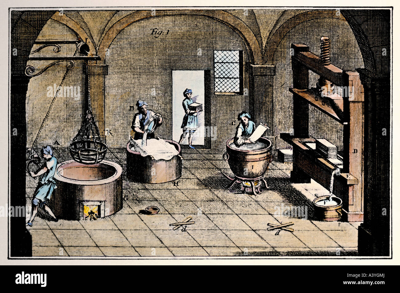 industry, paper manufacture, sizing, colour engraving, second half 18th century, private collection, historic, historical, - Stock Image