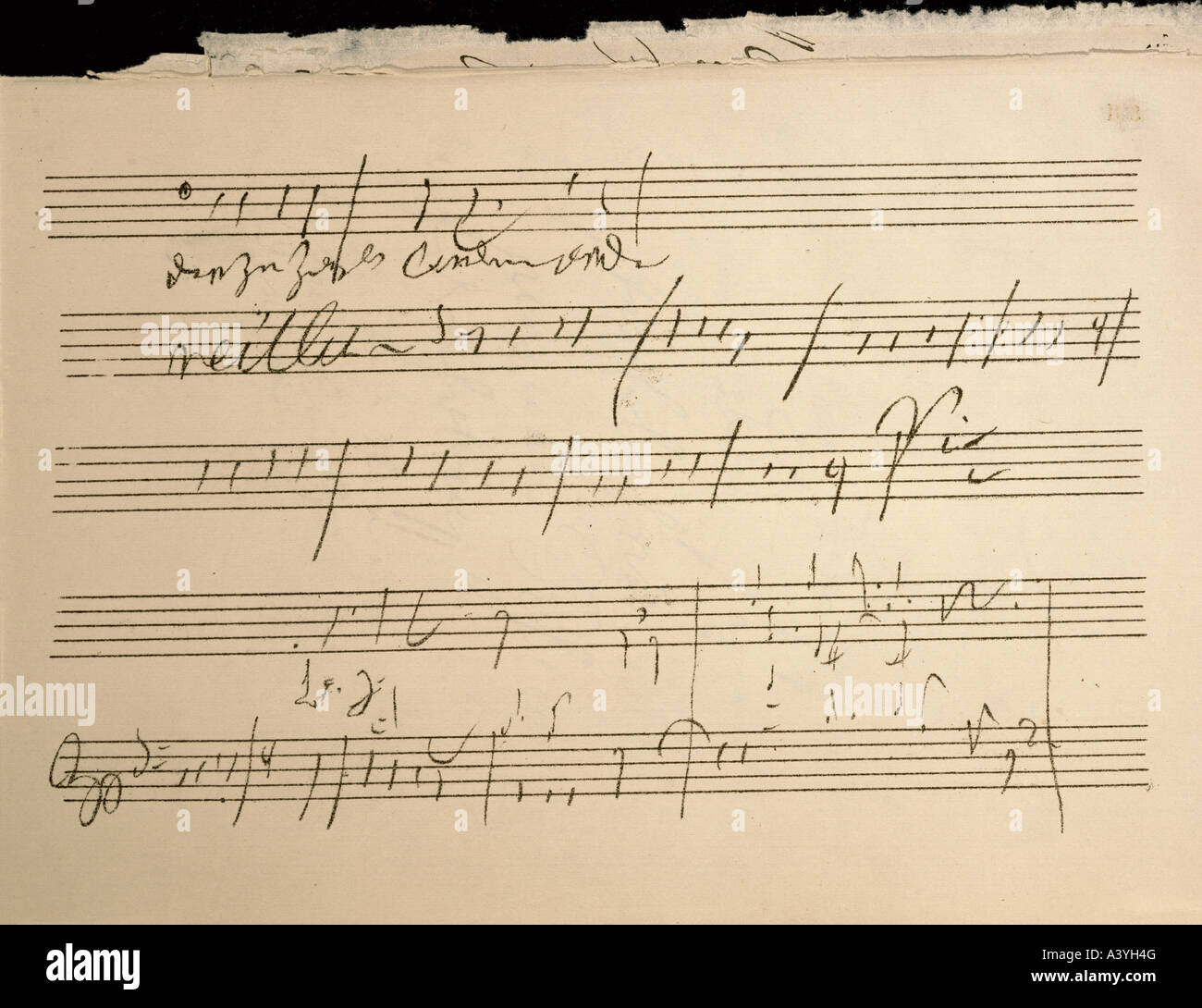 Beethoven, Ludwig van, 17.12.1770 - 26.3.1827, German composer, manuscript, wish for change, score of 9th symphony, - Stock Image