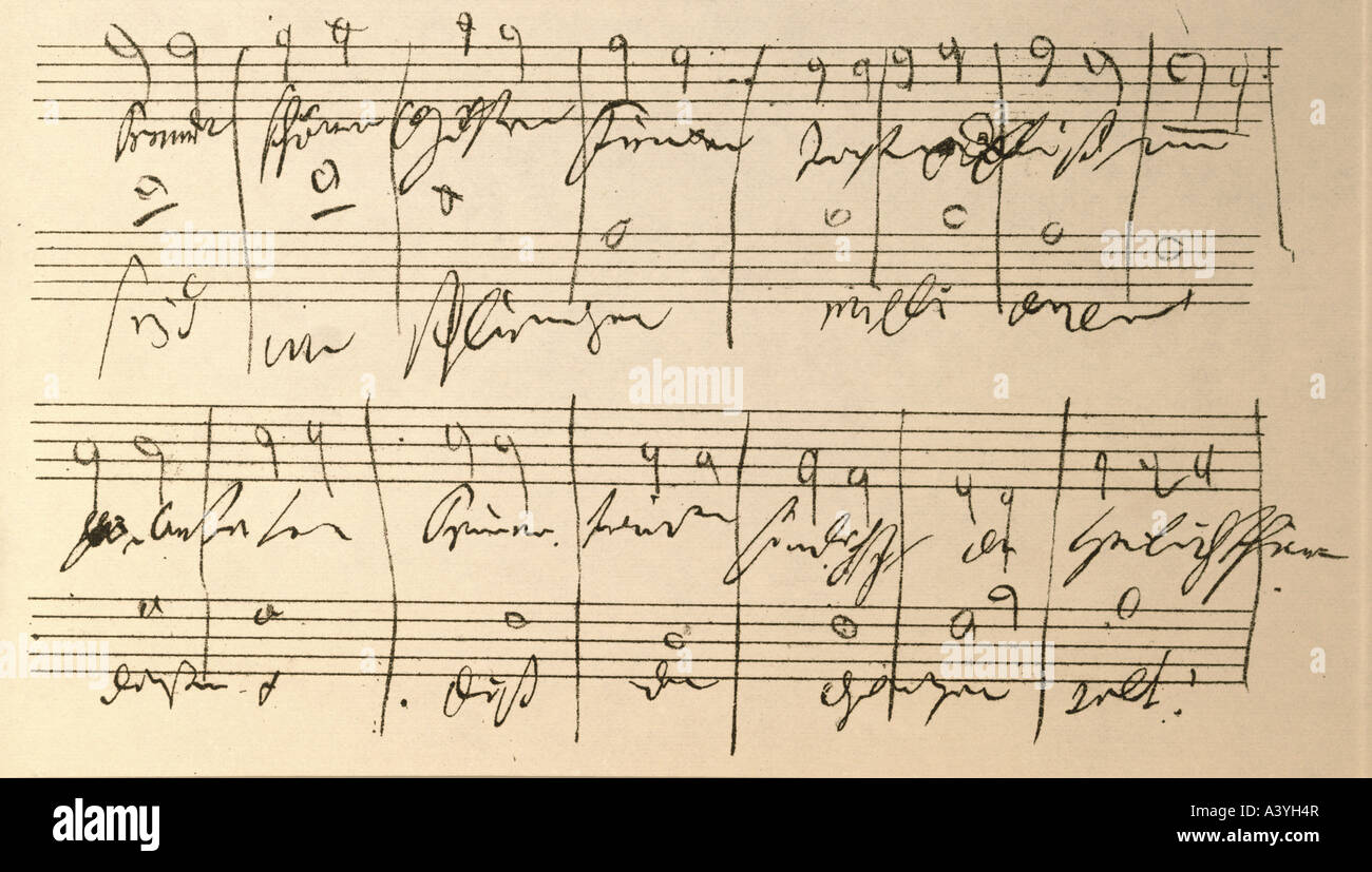 Beethoven, Ludwig van, 17.12.1770 - 26.3.1827, German composer, manuscript, composition sketch, score of 9th symphony, - Stock Image