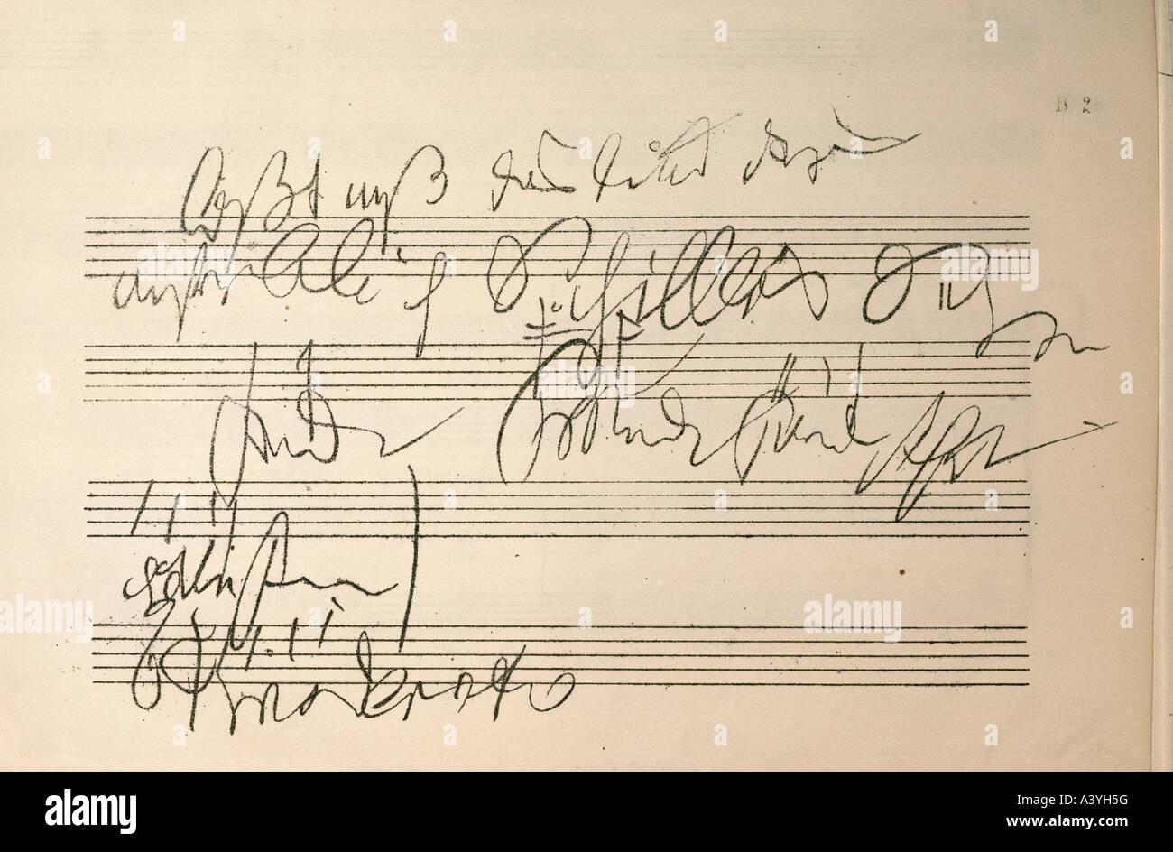 'Beethoven, Ludwig van, 17.12.1770 - 26.3.1827, German composer, manuscript, sketch, score of 9th symphony, - Stock Image
