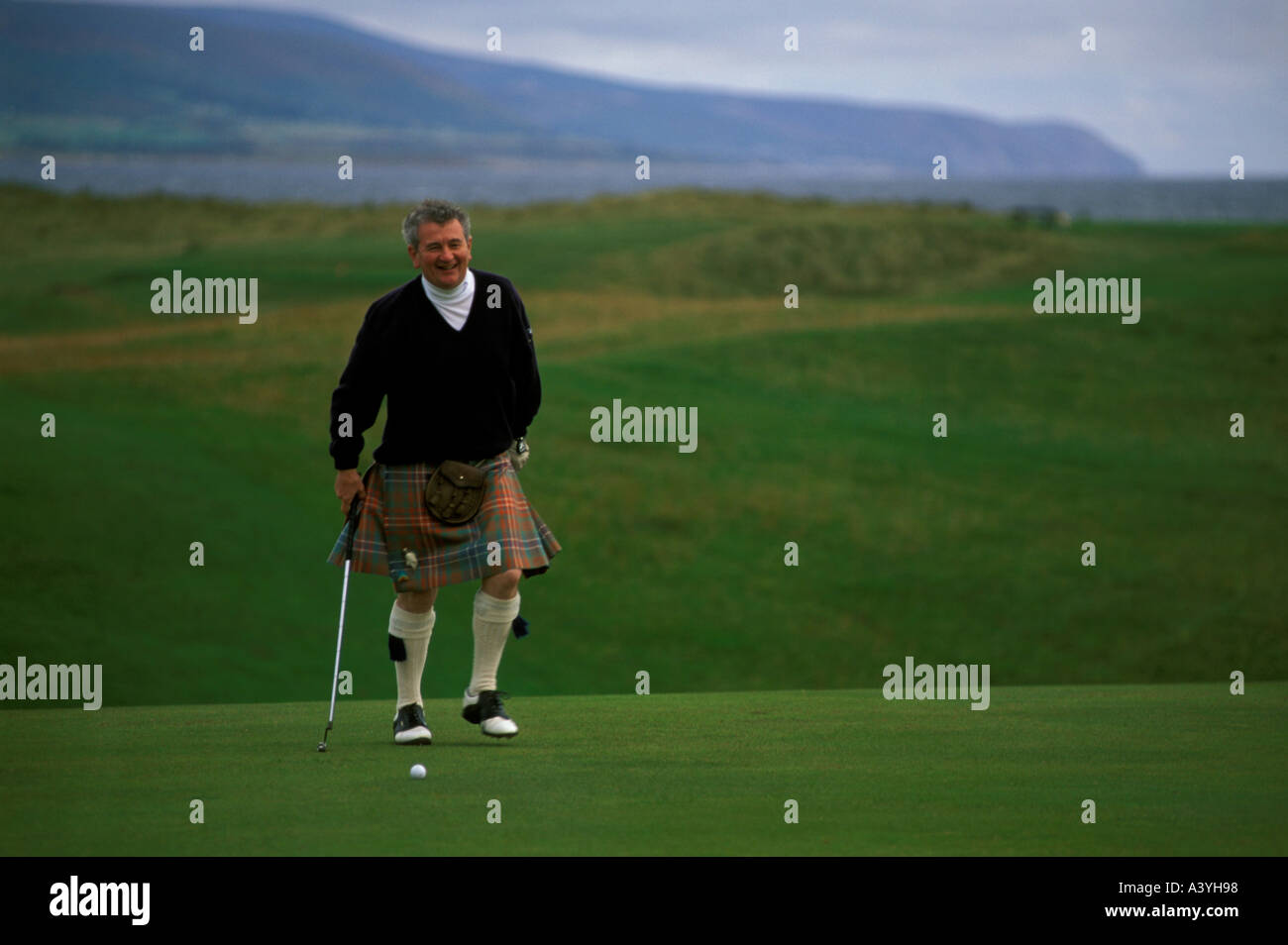 Brora golf links Scotland - Stock Image
