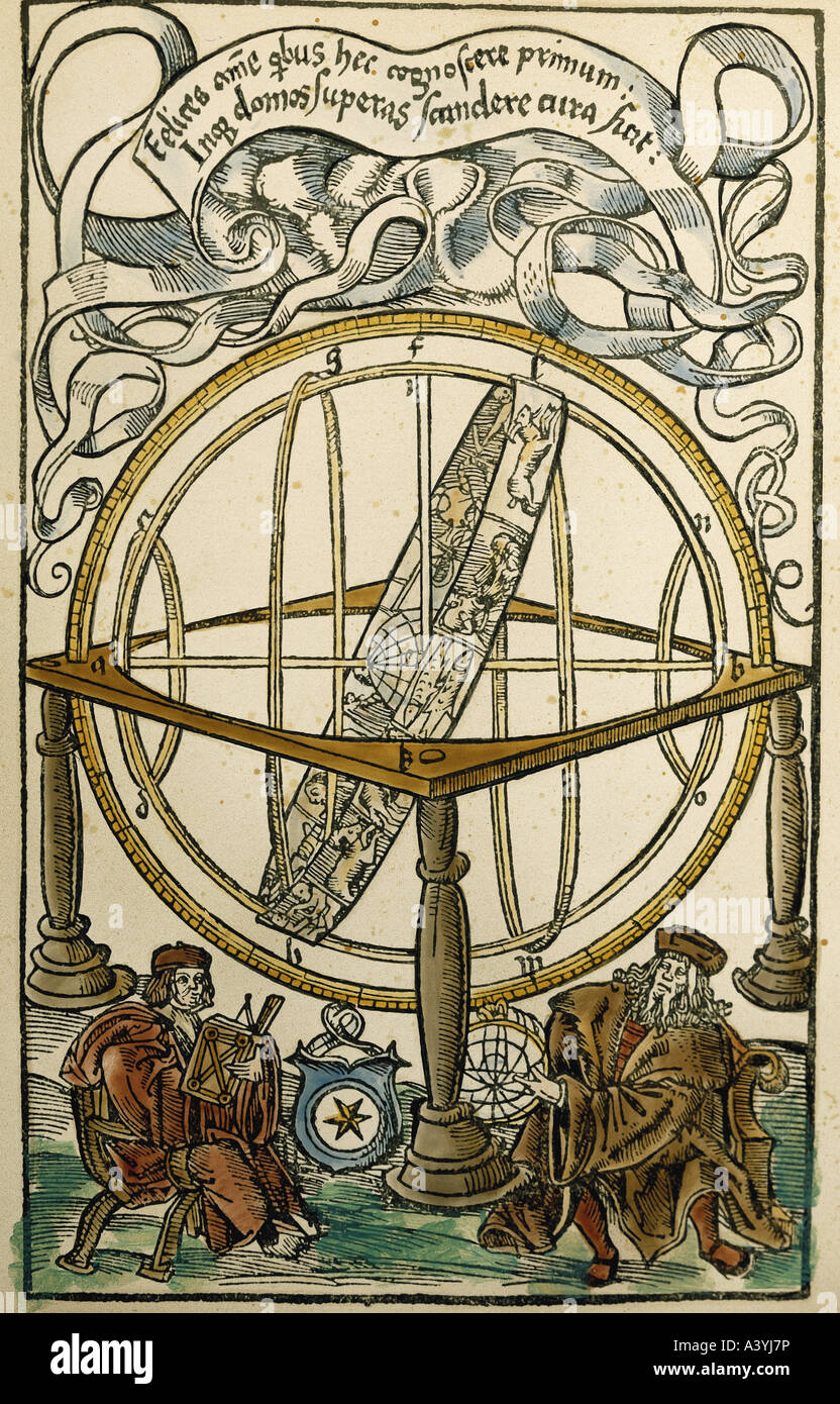 astronomy, measuring instruments, armillary sphere and two scholars, colour woodcut, from 'Tabulae eclipsium', - Stock Image
