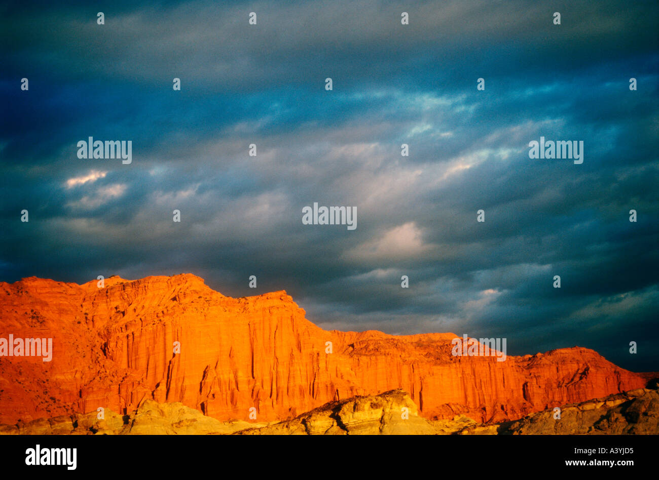 Sunset at Ischigualasto Triassic Park in western Argentina - Stock Image