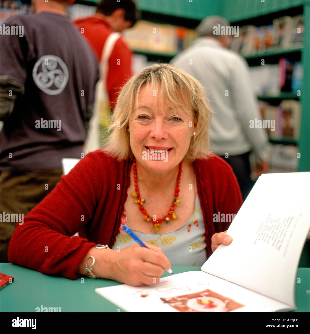 Childrens writer Babette Cole author of Mummy Laid An Egg! & kids books  book signing in bookshop at the Hay - Stock Image
